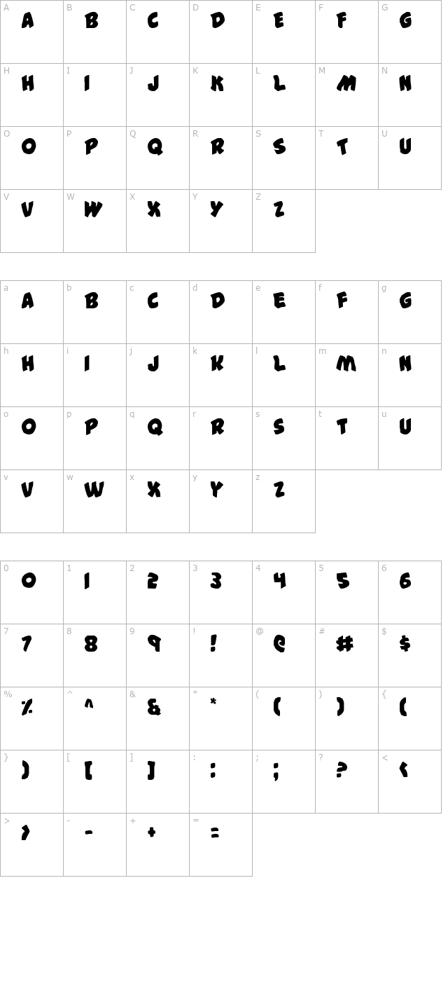 #44 Font character map
