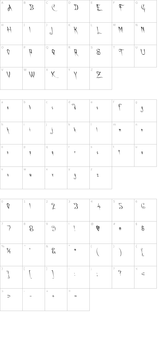 a-charming-font-leftleaning character map