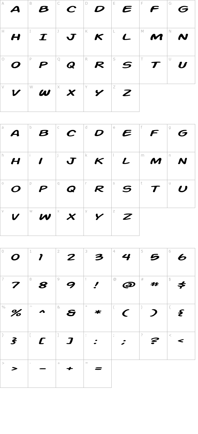 action-man-extended-italic character map