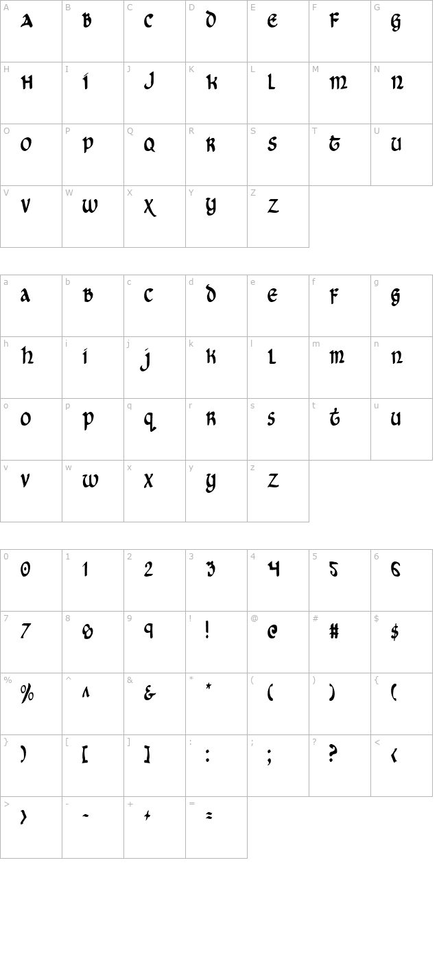 Cry Uncial Condensed character map