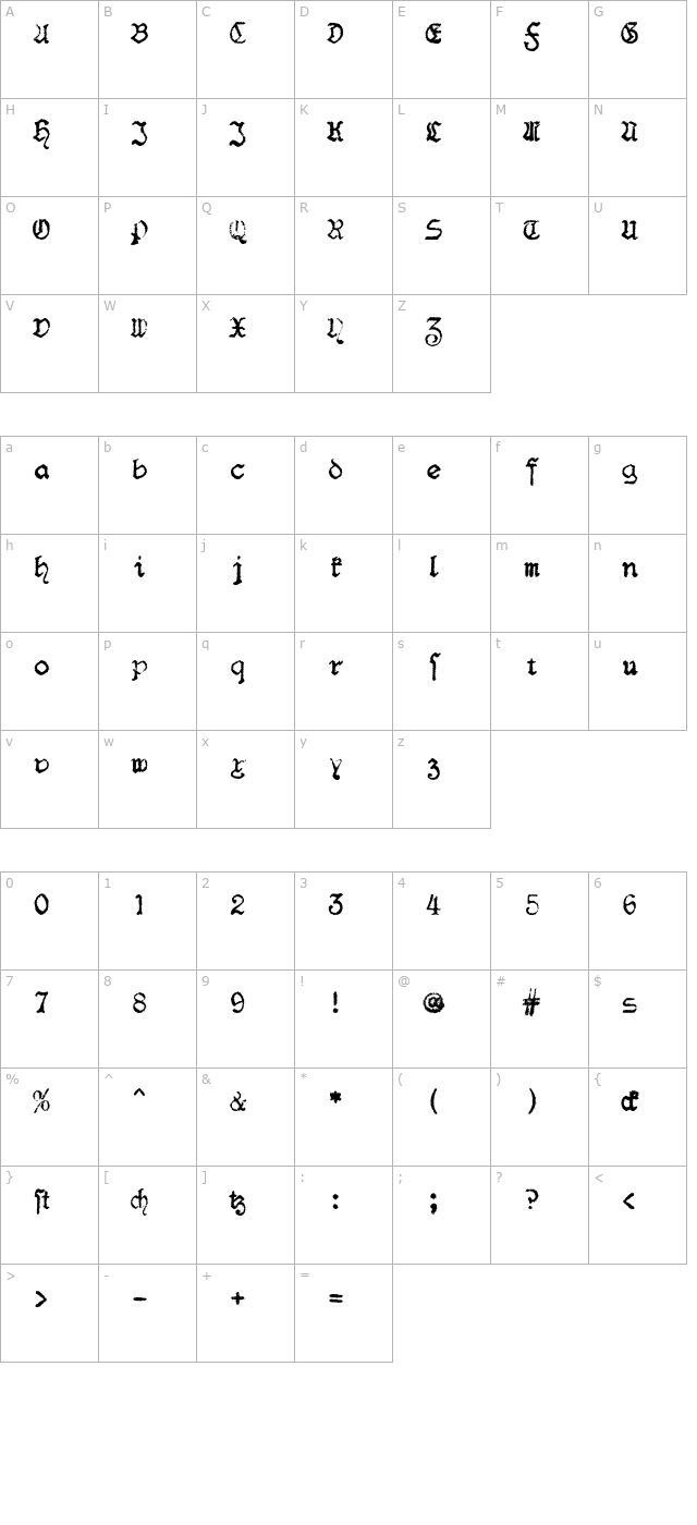 F25 BlackletterTypewriter OTF character map