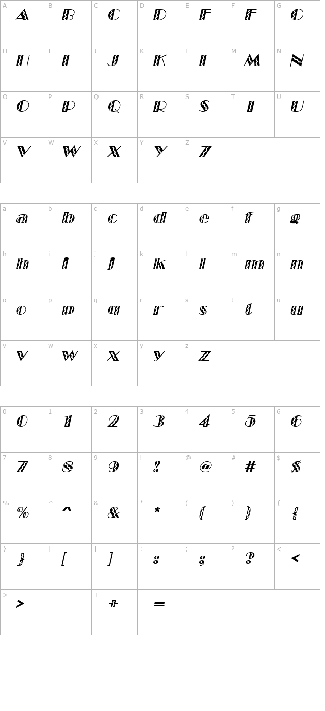 MarqueeFlash Italic character map