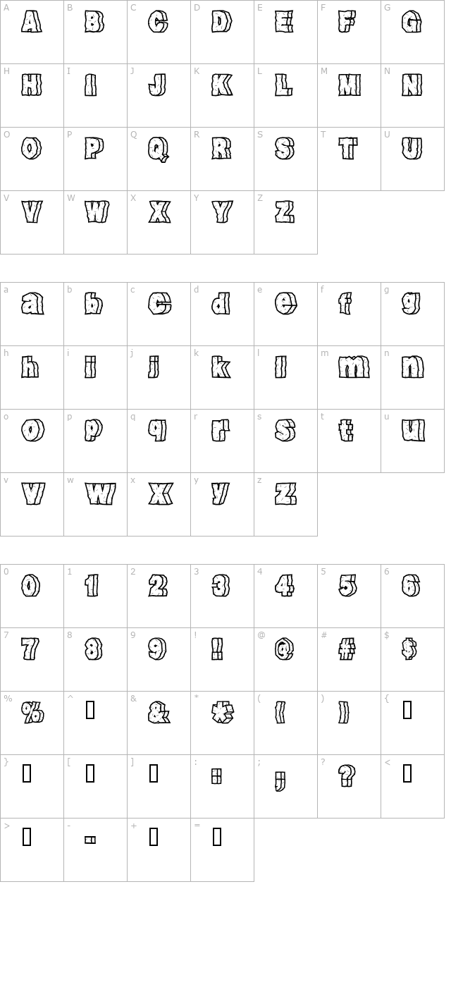 rock-font character map