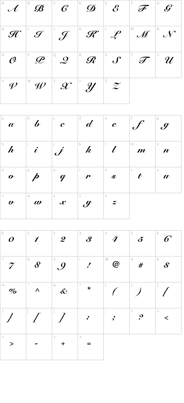 Snell Roundhand Black Script character map