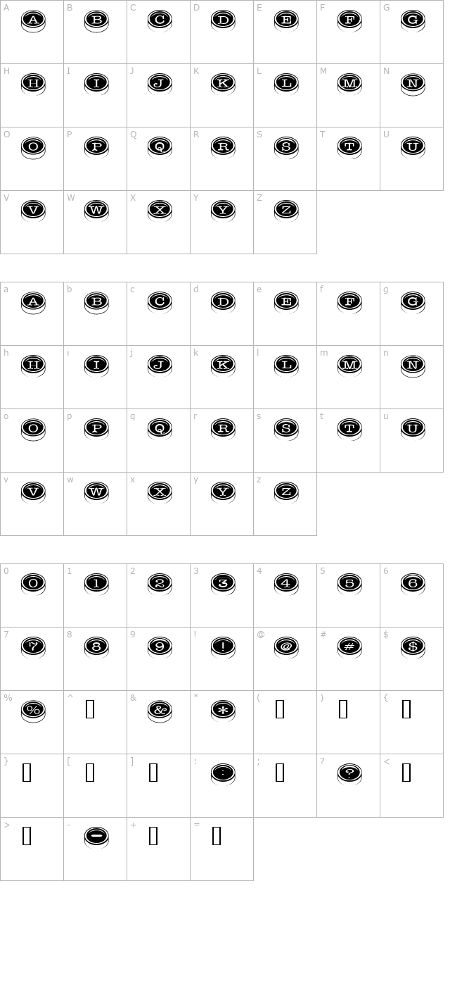 Typewriter Keys character map