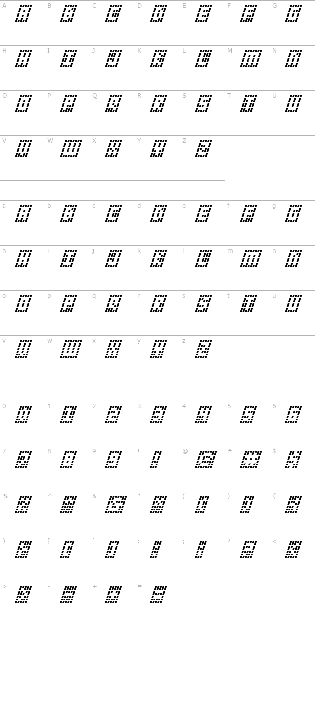 Y-Grid Italic character map